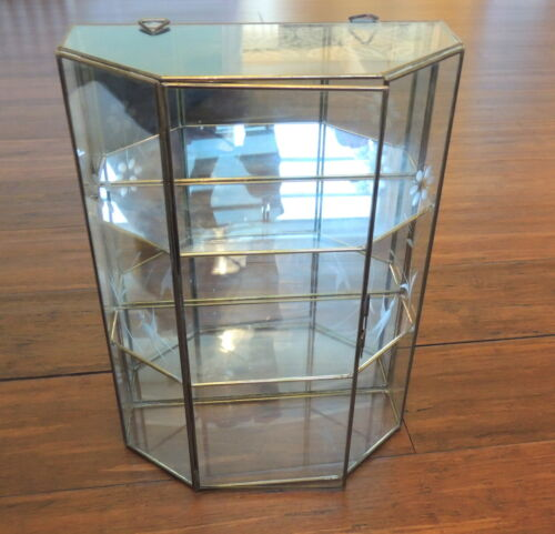 Vintage Glass & Mirror Wall Miniatures Curio Case Shelves Cabinet Mirror Back