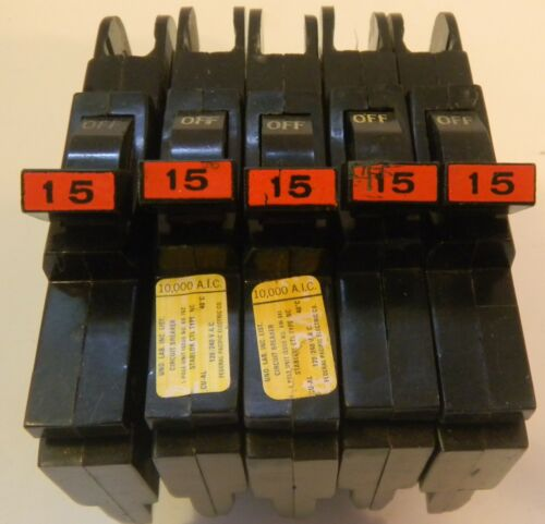 Lot 5 Federal Pacific FPE 1 Pole 15 Amp Type NC STAB-LOK Circuit Breakers TESTED