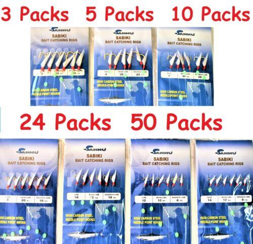 Sabiki Bait Rigs 6 Hooks With Fish Skin Size:2,4,6,8,10,12,14.