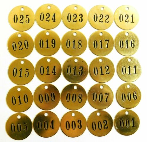 "Round Yellow Brass Numbered Tags 1-1/2"" x 1-1/2"" 40023 (25 Pieces)"