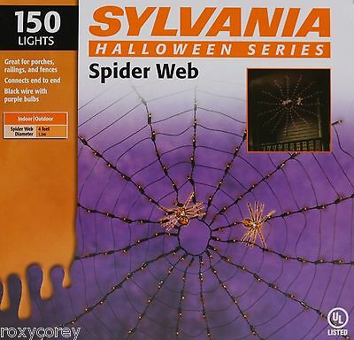 Halloween Sylvania Spider Web 150 Purple Lights 4 ft Diameter Black Wire NIB](Purple Halloween Lights)