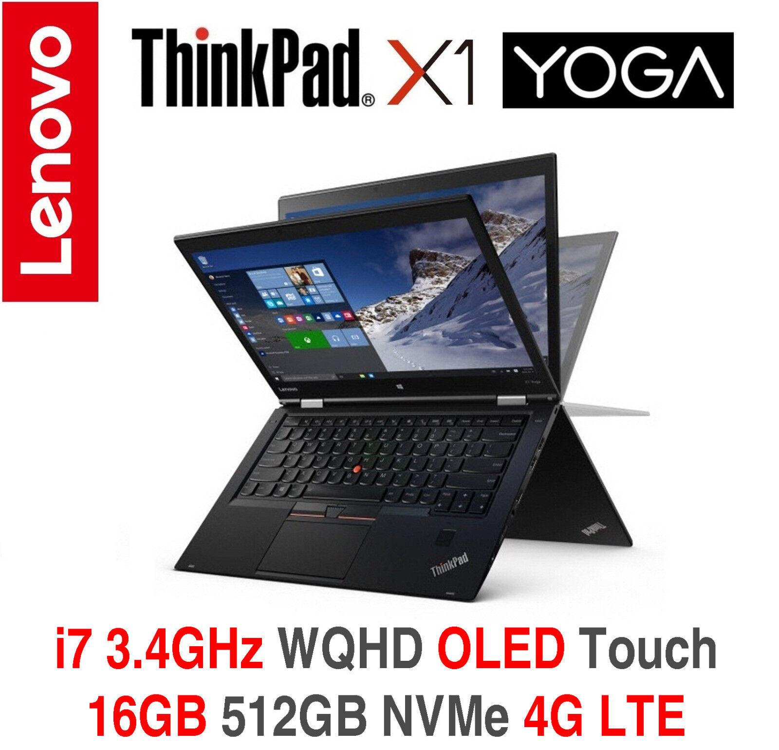 ThinkPad X1 Yoga i7 3.4GHz WQHD OLED 16GB 512GB NVMe 4G On-site + TPP Warranty