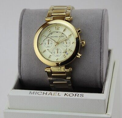 NEW AUTHENTIC MICHAEL KORS PARKER GOLD CRYSTALS CHRONOGRAPH WOMEN'S MK5276 WATCH