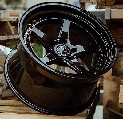 18x9.5 / 18x10.5 5x114.3 +22 Aodhan DS05 Gloss Black 18 Inch Wheels Set 4 Rims