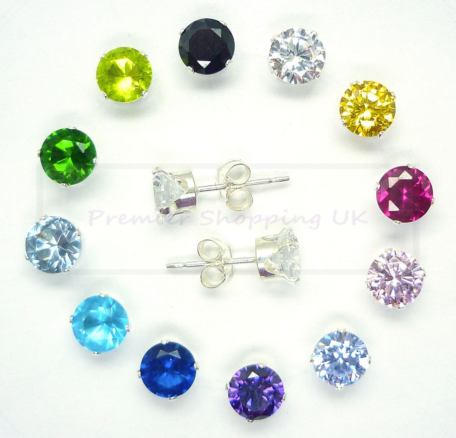 925 STERLING SILVER STUD EARRINGS ROUND SQUARE  UK SELLER