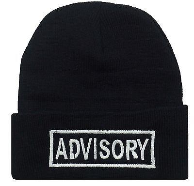 COOL HIP GANGSTER CUFFED ADVISORY BEANIE HAT SKULL CAP BLACK/WHITE](Gangster Beanies)