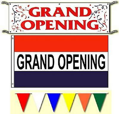 Grand Opening Banner 3x5ft Flags Pennants Sign Package. Free Same Day Ship