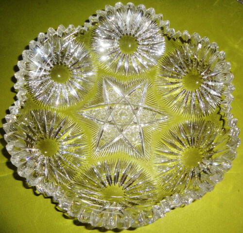 """IMPORTANT Find! Antique PITKIN & BROOKS fancy SUNBURST 8"""" ABP CUT GLASS BOWL"""
