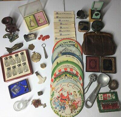 Vintage Junk Drawer Lot: Unusual Items Sterling, Aladdin Finial, Mosaic Pill Box