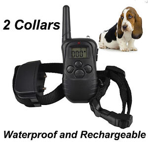 LCD Electric E-Collar for 2 Dogs Training Remote Control Anti-Bark Rechargeable