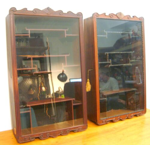 Pr. Antique Chinese Hardwood Curio Cabinets Carved Details Dovetailed Cases