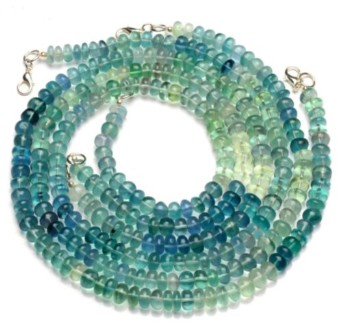"Natural Gem Multi Color Fluorite 7MM Size Smooth Rondelle Beads 18"" Necklace"