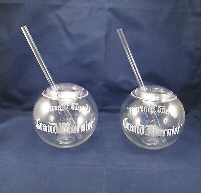 NIP Lot of 2 GRAND MARNIER Clear Acrylic Bubble Ball Glasses with Straws     NB2 ()