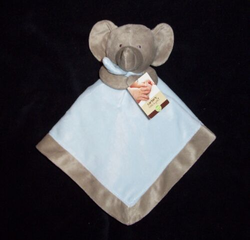 NEW Carters Elephant Blue Tan Baby Blanket Rattle Satin Security Lovey