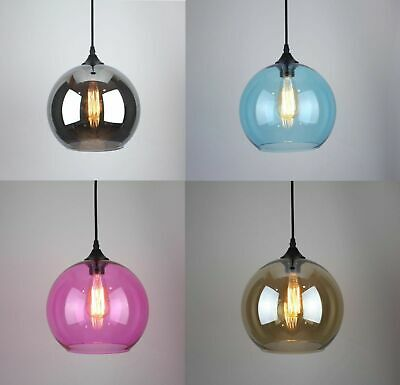New Modern Vintage Industrial Retro Multi Colour Ceiling Glass Pendant Light