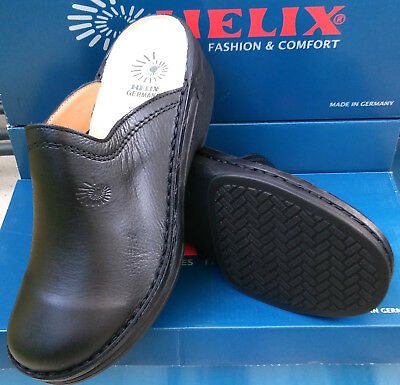 31 Schwarz Led (Sonderangebot - Helix Clogs schwarz Burma Leder Fußbett Pantoffeln)