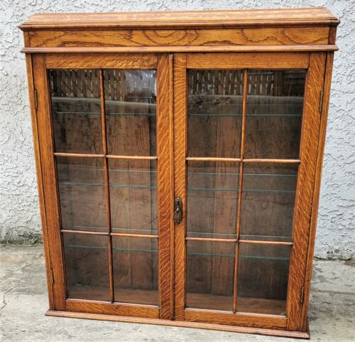 Vtg Mission Arts & Crafts Oak Tabletop Wall Cabinet Curio China Cupboard Glass
