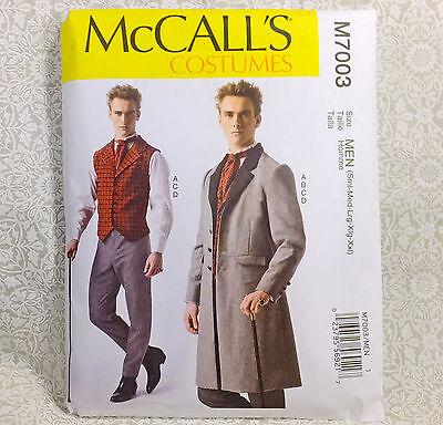 McCall's 7003 Steampunk Men Costume Sew Pattern S-Xxl Period Vest Coat Pants Tie (Mens Period Costumes)