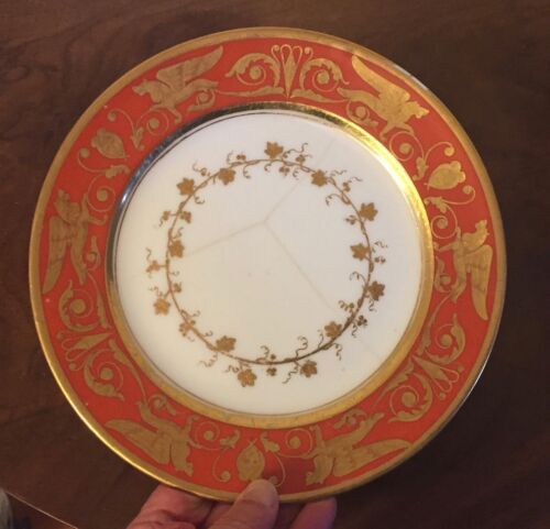 Antique 19th c. French Empire Dagoty Paris Porcelain Plate Gold Griffins 1810 #2