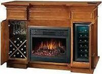 Electric Fireplace with Wine Cooler and Dry Storage
