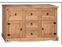 Corona Mexican Pine Sideboard - 2 x door with 5 x drawers