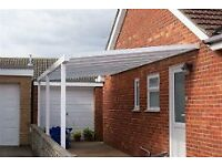 Carport Lean Too Driveway Canopy Shelter White / Brown C/W Legs Clear, Bronze, Opal Polycarbonate