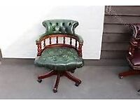 LOVELY GREEN LEATHER CAPTAINS CHAIR BARGAIN !!!