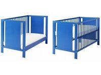IKEA HERMELIN BLUE COT/BED+Blue Mattress VGC
