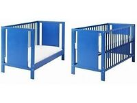 IKEA BLUE COT/BED GOOD CONDITION BARGAIN AT £25 FIRST TO SEE WILL BUY BARGAIN