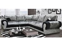 EXPRESS DELIVERY! BRAND NEW TANGO CRUSHED VELVET CORNER SOFA OR 3+2 SET ON SPECIAL OFFER,