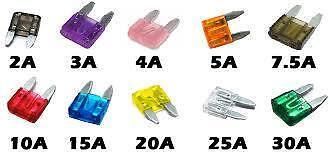 10 x Assorted Mini Blade Fuses (11mm x 15mm) o/e spec M17/5