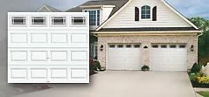 Garage door insulated with windows; installed $899