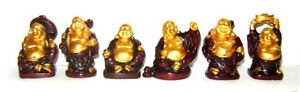 Set of 6 Red/gold Feng Shui Laughing HAPPY Buddha Figures & Statue Luck & Wealth