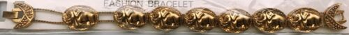 Lucky Elephants Slide Charm Bracelet new vintage goldtone (trunks up)