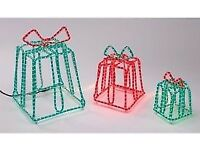 Set Of 3 Massive Outdoor Or Indoor Red & Green Rope Light Parcels - Brand New & Still Boxed!