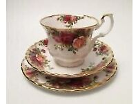 Royal Albert Old Country Roses Bone China Trio - Teacup Saucer and Side Plate