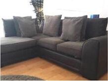Black leather & grey fabric corner sofa & 2 seater