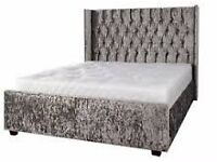 crush velvet double bed withn wing head board same day delivery
