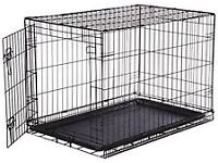 Black Pets at Home dog crate - as new -folds flat - with inner tray