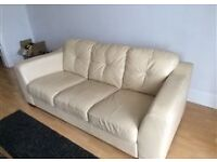 2 Piece Cream Leather Suite (2 & 3 seater)