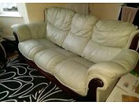3 - seater leather sofa and armchair