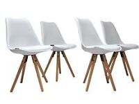 BRAND NEW - BOXED Set of 4 Retro Kitchen Dining Chair With Padded Cushion - White