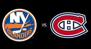 (2X2) BILLET TICKET CANADIENS ISLANDERS CENTER 302A 303A GRIS