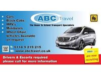 MINIBUS DRIVER REQUIRED FOR SCHOOL CONTRACTS & CASUAL WORK, FLEXIBLE HOURS-ABC TRAVEL 9696969