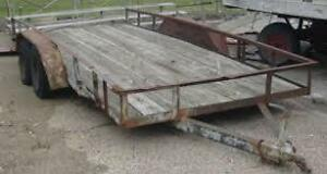 Old non road worthy flat car hauler 16-20 feet