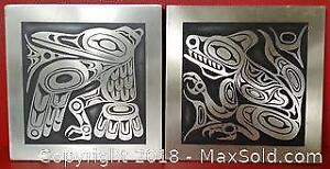 Set Of 2 Metal Plated Native Made Wall Art