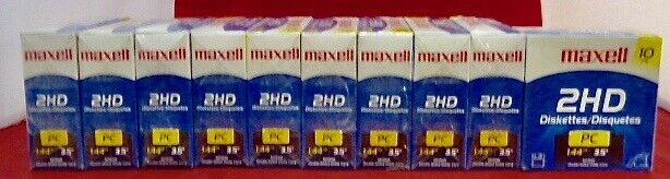 """(Lot 10)  Maxell Diskette 3.5"""" 1.44MB 10-Pack"""