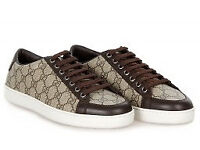 Gucci brown and beige canvas and leather trainers size 7