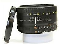Nikon 50mm F1.8 D Autofocus Prime Nikkor Lens with metal hood and UV filter MINT £85