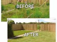 Lawn mowing and gardening service.